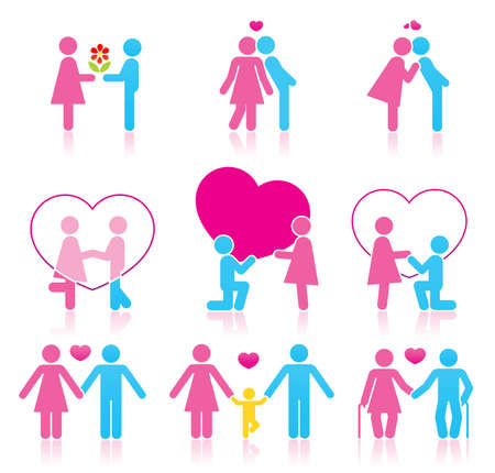 which: Pictograms which represent couple in love Illustration