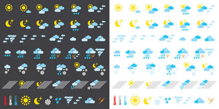 Pictograms which represent weather conditions Stock Vector - 16730746