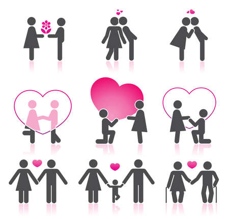 romantic kiss: Pictograms which represent couple in love Illustration