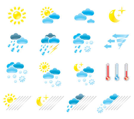 Pictograms which represent weather conditions Stock Vector - 16730743
