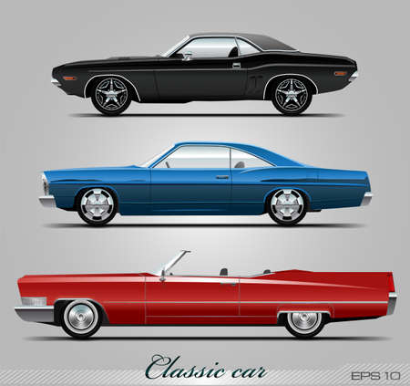 restored: Classic car collection, vector eps 10 Illustration