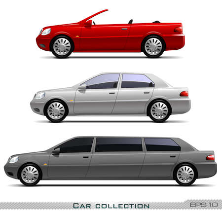 Car collection isolated on white background, vector eps 10