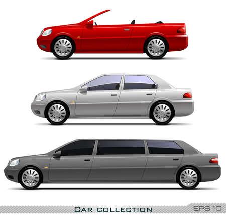 Collezione di auto isolato su sfondo bianco, vettore eps 10