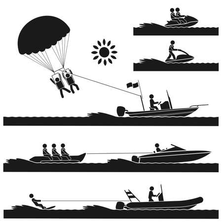 Different kinds of exciting water sports on the sea Illustration