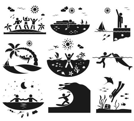 hammock: Different ways of having fun at the sea Illustration