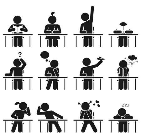 Dni szkolnych wszyscy tam byli Ilustracje wektorowe