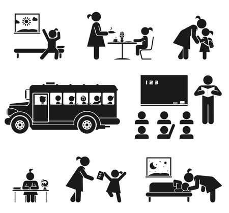 convivencia escolar: Los niños van a la escuela Pictograma icon set Vectores