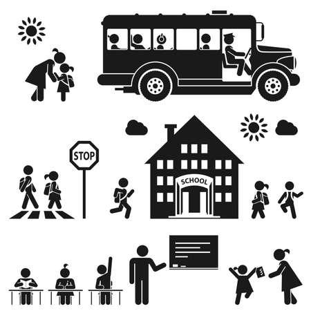 aller a l ecole: Les enfants vont � l'�cole pictogramme ic�ne ensemble Illustration