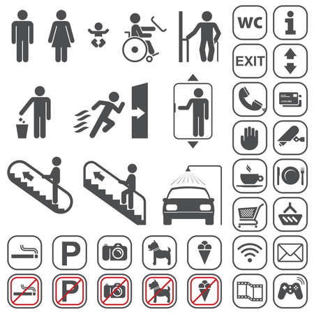 Vector gray icons set on white background