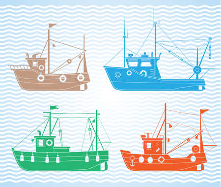 Set of different types of fishing boats Vector