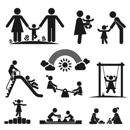 children s: Children play on playground  Pictogram icon set
