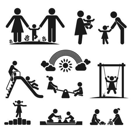 niños en area de juegos: Los niños juegan en el patio Pictograma icon set Vectores