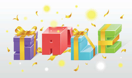 Set of colorful gift boxes with bows and ribbons  Vector Vector