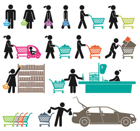 ICONS OF MEN AND WOMEN GO SHOPPING   Vector