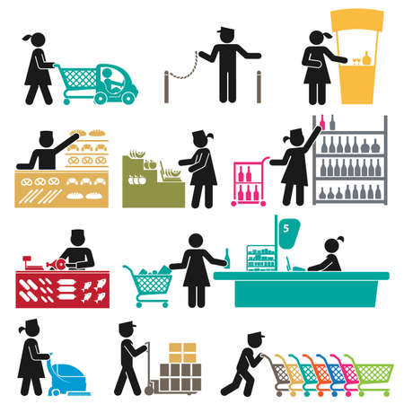 ICONS OF MEN AND WOMEN EMPLOYEES IN THE SUPERMARKET  イラスト・ベクター素材