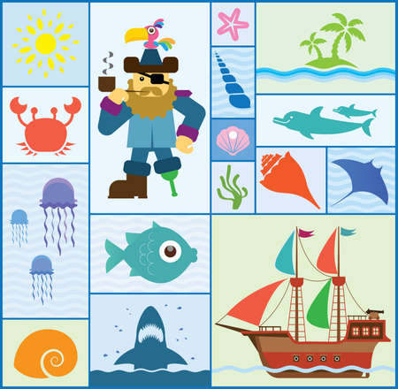 Vector set which represent various sea elements    Vector