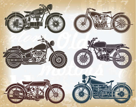 antique fashion: Vector set of old classic motorcycle
