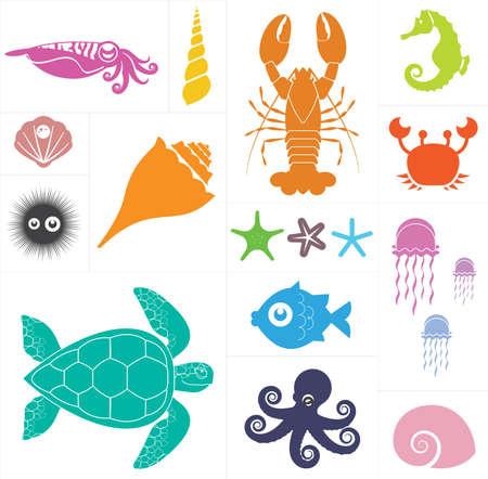 caballo de mar: Conjunto de vectores que representan diversos animales marinos