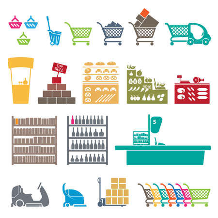 SET OF COLORFUL SHOPPING MALL ICONS Vector