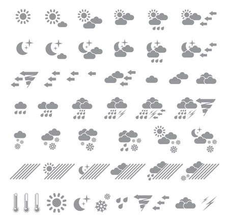 meteorological: Icons which represent weather conditions Illustration