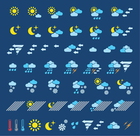 Icons which represent weather conditions Vector