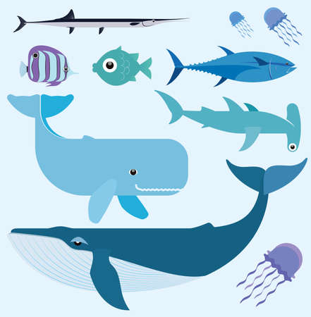 Vector set which represent various sea animals  Abstract decorative cute illustration  Graphic design elements for print and web Vector