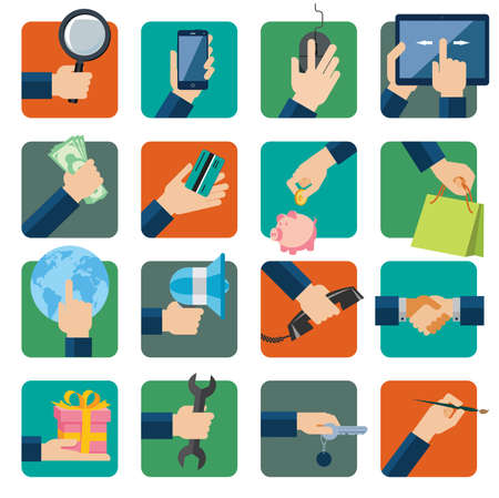 Flat design vector illustration icons set for business, web and mobile phone services  Hands with shopping and business elements isolated on colored background  Illustration