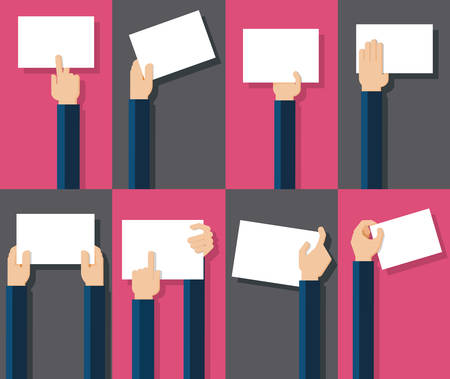 holding: Vector illustration of hands holding blank piece of paper for messages Illustration