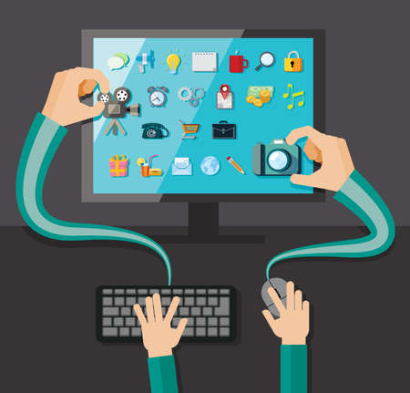 e money: Hands with shopping and business elements isolated on colored computer monitor  Illustration