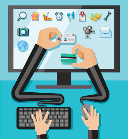 Hands with shopping and business elements isolated on colored computer monitor  Vector