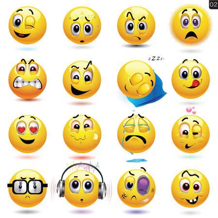 emotions faces: Vector Reihe von Smiley-Symbole mit unterschiedlichen Gesichtsausdruck Illustration