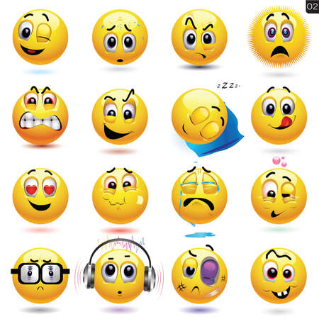 happy emoticon: Vector set of smiley icons with different face expression Illustration