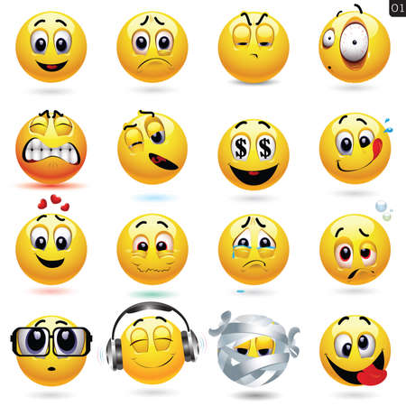 love cartoon: Vector set of smiley icons with different face expression Illustration