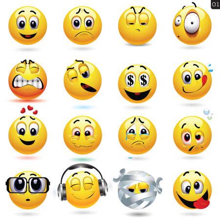 megrémült: Vektor, állhatatos, smiley ikonok különböző arc kifejezése Illusztráció