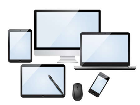 Set of modern digital devices with blank screen  Isolated on white background Vector