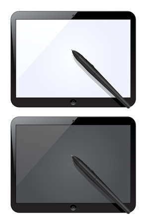 Vector illustration of tablet computer with blank screen isolated on white  Vector