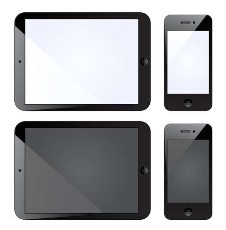 Vector illustration of tablet PC with mobile smartphone isolated on white Illustration