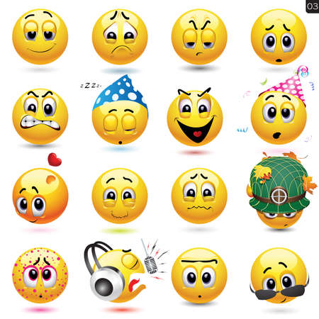 Vector set of smiley icons with different face expression Vectores