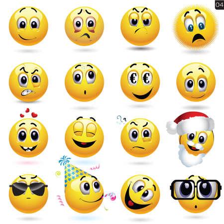 다른 얼굴 표정으로 웃는 아이콘의 벡터 설정 일러스트