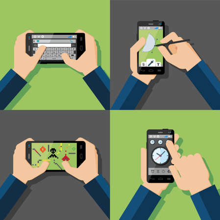 Hands holding touchscreen smartphones with applications on screens  Message, drawing, games, clock  Vector illustration  Vector
