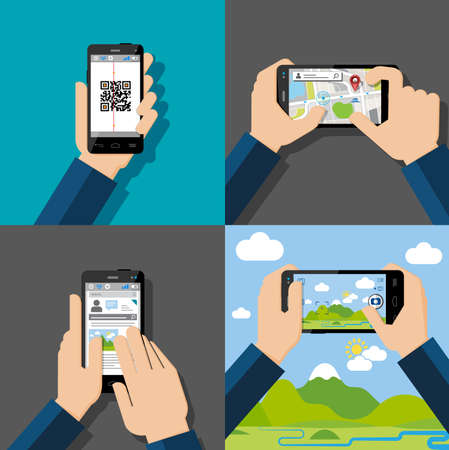 cellphone in hand: Hands holding touchscreen smartphones with applications on screens  Qr-code, map, chatt, message, camera  Vector illustration  Illustration