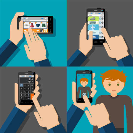 smartphone in hand: Hands holding touchscreen smartphones with applications on screens  E-commerce, booking, calculator, camera  Vector illustration  Illustration