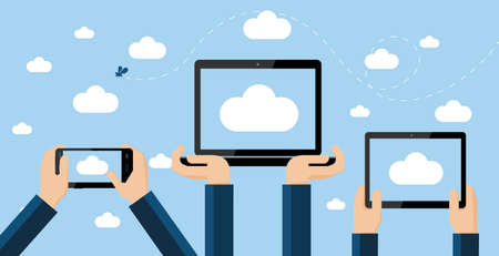 Cloud computing concept  Hands holding smartphone, computer laptop and tablet with cloud image on screen high against the sky  Vectores