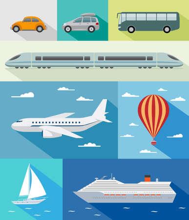 přepravní: Různé druhy dopravy autem, autobusem, vlakem, airoplane, vzduch baloon, plachetnice, loď s dlouhým stínovým efektem Ilustrace