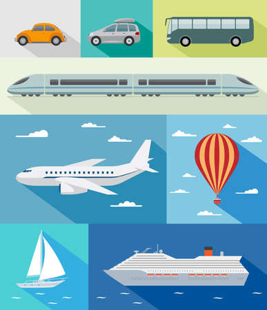 Various types of transport  car, bus, train, airoplane, air baloon, sailing boat, ship with long shadow effect