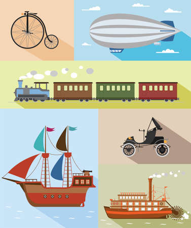 oldtimer: Set of flat vintage transportation icons  bicycle, zeppelin, train, pirate ship, car, steamboat
