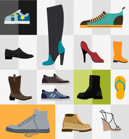 Various types of footware for man and women Illustration