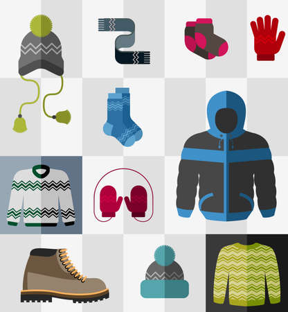 winter jacket: Various types of winter clothes and accessories