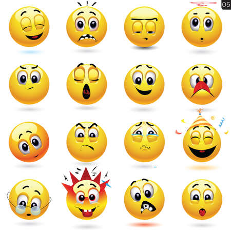 Vector set of smiley icons with different face expression 일러스트
