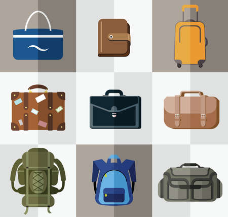 Bags, suitcases, backpacks  Bags for travel, bussiness, school, hiking and beach  Vector
